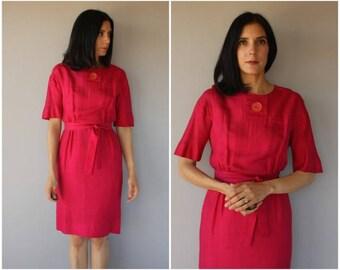 Vintage 1950s Silk Dress | 60s Dress | 1960s Silk Day Dress | 50s Belted Dress | 1950s Dress | 60s Cocktail Dress | 1960s Dress - medium