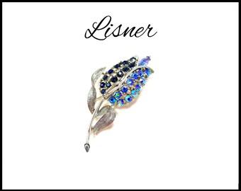 LISNER Blue AB Rhinestone Brooch, Aurora Borealis, 2 Tone Tulip, Royal Blue Brooch, Bridal Bouquet Flower, Lapel Brooch, Gift for Her