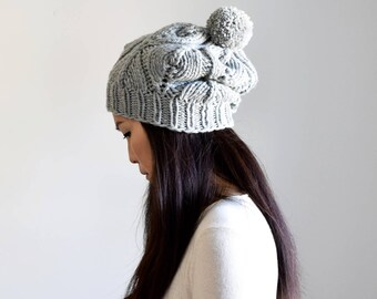 Merino Pom Pom Knit Hat, Women's Slouchy Beanie, Chunky Knit Hat