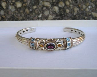Beautiful Sterling Silver Amethyst Blue Topaz Citrine Gemstone Cuff Bracelet Michelle Albala