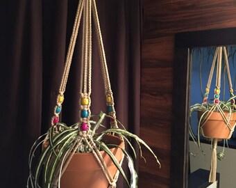 "Medium Macrame Plant Hanger 50"" Long Mixed beads Made in USA Sand"