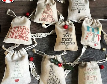 Rustic Christmas dinner table party favour pouch vintage gift bag unique rustic