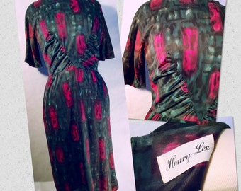 50's Henry- Lee Dress, Deep Water Color Pattern, Fully Lined, Paper Union Label, Metal Zipper.Vintage Size 16