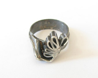 """Antiqued Sterling Silver Sculpted """"Butterfly"""" Ring, Size 6.75"""