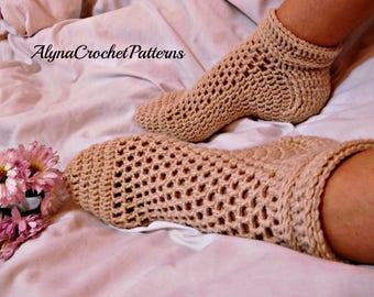 Socks Crochet Pattern - Socks Crochet, Instant download, Women Sizes Crochet Socks,Teen Size