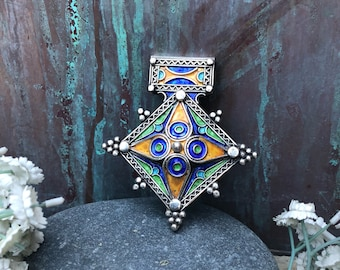 Vintage silver and enamel African Tribal pendant