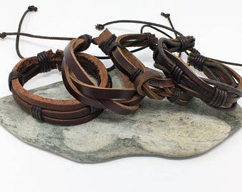 Men's Leather Bracelet Mens Bracelet Gifts Under 20 Boyfriend Gift For Dad Husband Gift Men's Gift Anniversary Gift for Him 4PC8