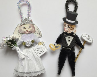 White + Tabby Kitty Cat BRIDE & GROOM ornaments Wedding Cat ornaments vintage style chenille ORNAMENTS set of 2