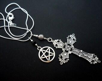 A lovely cross and pentagram/pentangle charm tibetan silver  pendant necklace.