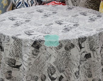 Tablecloth - Premier Prints Cotton - AMORE - Onyx Black Natural White - Choose Your Size - Table Linen Wedding Home Decor Dining Kitchen