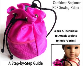 Pixie Faire Miche Designs Neo Beach Tote Doll Clothes Pattern for 15 inch and 18 inch American Girl Dolls - PDF