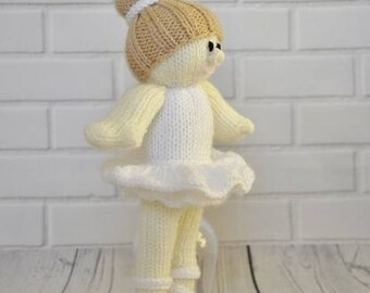 Ballerina Knitting Pattern, Ballerina Doll Knitting Pattern, Knitted Doll, Dolly Knit Pattern, Soft Toy Knitting Pattern, Baby Shower Gift