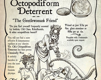 Neo Victorian Steampunk Parody Advertisement with Tentacles Art Print - Multiple Sizes Available - Dr. Oh's Octopodiform Deterrent