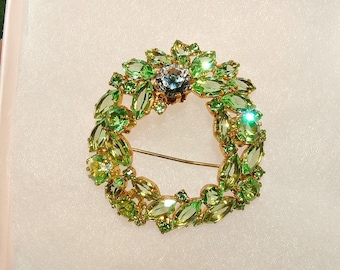Vintage Marked Austria Peridot Periwinkle Blue Austrian Crystal Gold Brooch