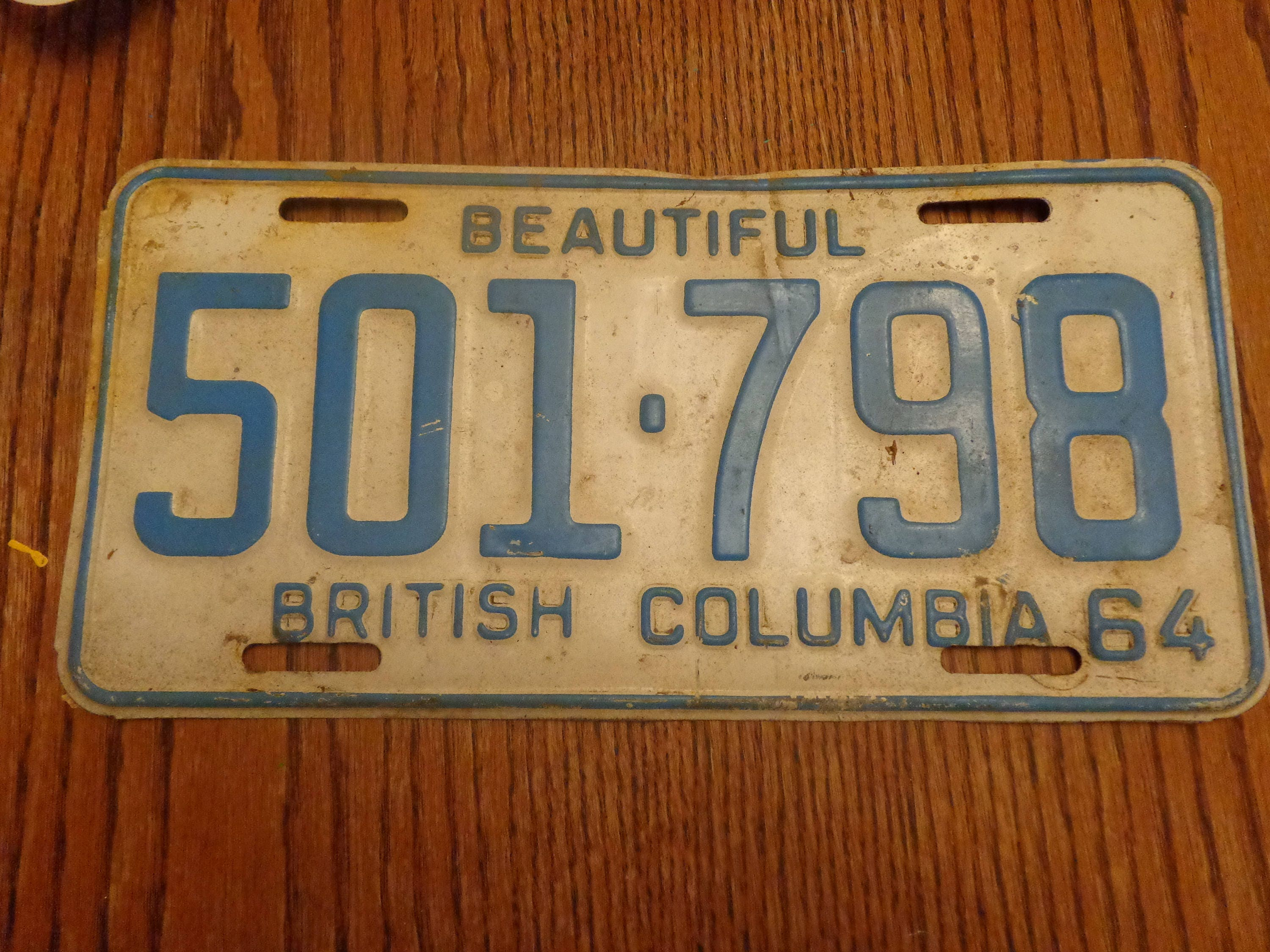 1964 Old British Columbia License Plate Vintage Rusty Old