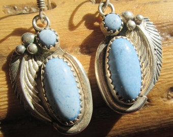 Native American Denim Lapis and Sterling Feather Dangle Earrings
