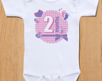 Pink and Purple Monthly Baby Onesies, 12 Month Set, Perfect Baby Shower Gift
