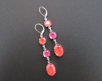 Coral and Pink Swarovski Earrings/Light Coral Pink Peony Statement Earrings/Bridesmaid Jewelry/Crystal Earrings/Coral Swarovski Earrings