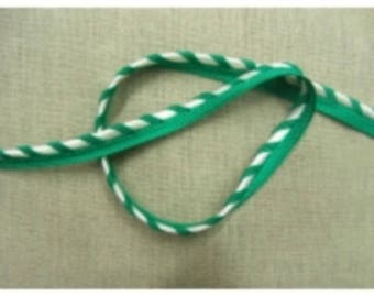 Piping - 1.2 cm - BICOLOR green & White Ribbon