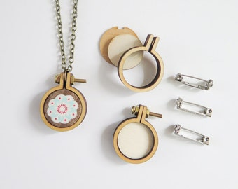 """3 Tiny Embroidery Hoops Necklace Brooch Kit 
