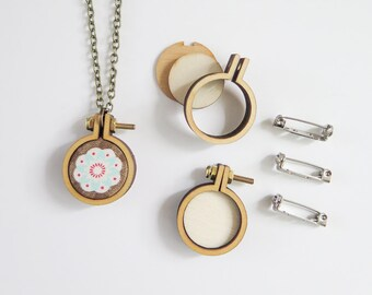 """Tiny Embroidery Hoop Necklace Kit 