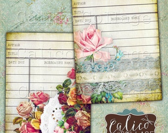 Flowers and Lace, Library Cards, Printable Ephemera, Collage Sheet, Digital Library Card, Junk Journal, Digital Tags, Vintage Library Cards
