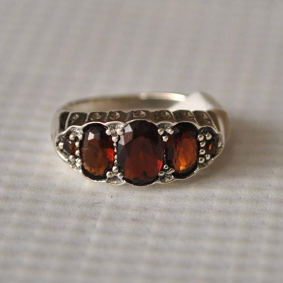 Sterling Silver Garnet Art Deco Ring Sz 6 #9747