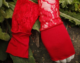 Red Lace Arm Warmers