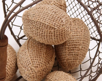 Burlap Eggs, Half A Dozen, In Natural Burlap, Bowl or Basket Fillers, Shabby Chic Easter Decorations, Kitchen, Rustic, Table Scatter.