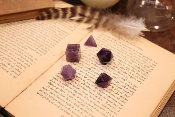 Large 5 Piece Amethyst Sacred Geometry Set, XL Amethyst Platonic Solids, Metaphysical Crystal, Geometric Crystal, Crystal Grid