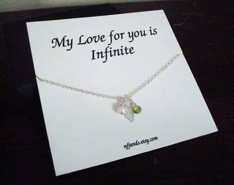 Peridot Briolette and White Pearl with Leaf Silver Necklace~Personalized Jewelry Gift for Best Friend, Sister, Bridal Party, Mom, Graduation
