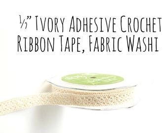 "Ivory Crochet Fabric Washi Tape Ribbon with Adhesive Sticky Backing, 1/2"" Crochet Ribbon, Washi, Decoration, Gift Wrapping, Craft Supplies"