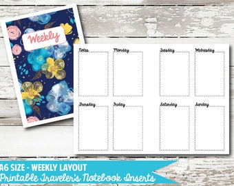 A6 Size - Week on 2 Page PRINTABLE Insert for Traveler's Notebooks