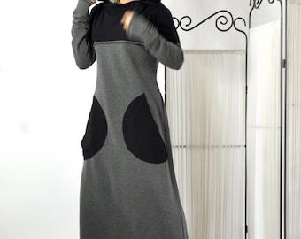 Long Cotton Lycra Dress/Grey and Black Long Dress/Kaftan/Extravagant Dress/Woman Hooded tunic/Side pockets dress/Daywear tunic/D0250