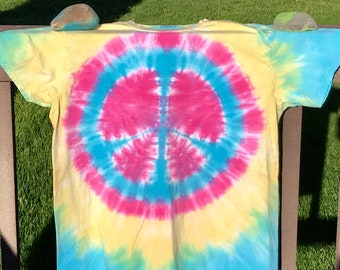 Tie Dyed Peace Sign T-Shirt, Blue, Yellow and Pink, Size Adult XL