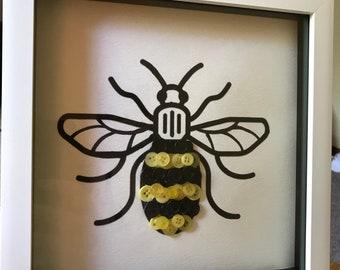 Manchester Bee Button Art Frame