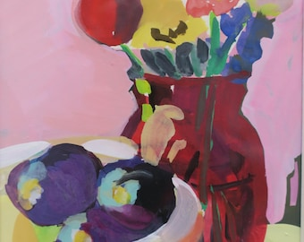 housewarming , anniversary , watercolor , hand painted , purple plums , painting , gouache , vase , 4 x 6 , gift , still life , red , pink