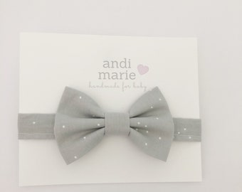 Baby Bow Tie, Grey and White Dot
