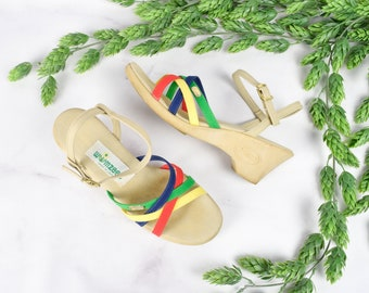 1970s / 80s Strappy Heeled Sandals in Rainbow Size 6.5