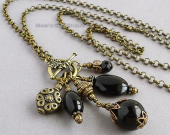 Black Onyx Antiqued Brass Long Necklace 28in, Chain and Cluster Necklace, Drop Pendant, Onyx Jewelry, Gemstone, Handmade