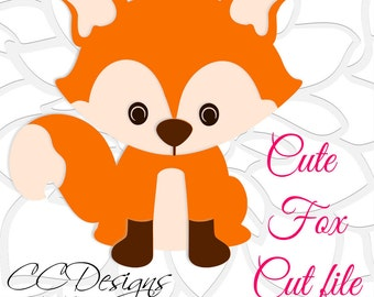 Cute Baby Fox SVG & DXF Cutting Files, PNG Baby Fox Clip Art, SVGs for Silhouette and Cricut, Instant Download