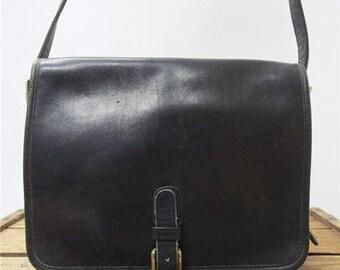 Coach Vintage Dark Blue / Black Leather NYC Brass Buckle USA Saddle Pouch Bag Shoulder Purse