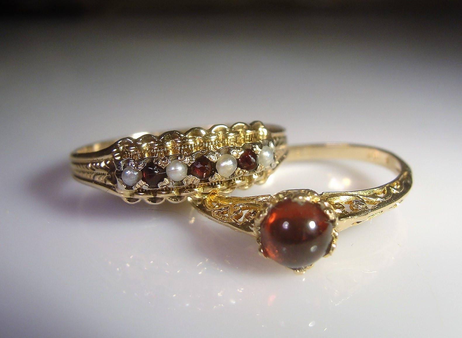 Victorian Bridal Ring Set 10K Garnet Bridal Rings Garnet