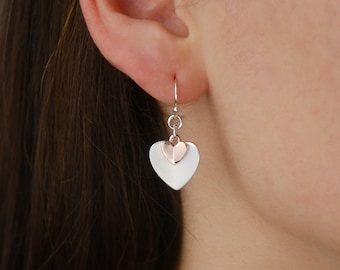 Silver and rose gold pleated heart earrings, heart drop earrings, rose gold jewellery, gift for friend, mothers day earrings, gift for mom