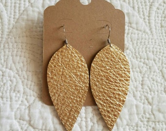 Genuine Leather Leaf Earrings in Metallic Gold