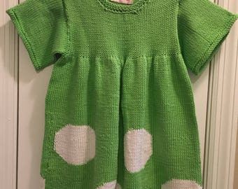 Handknit dress for toddler 2 year old