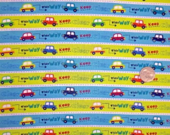 "Nursery Fabric : This way keep clear - blue and green Stripe Cars Fabric 100% cotton Fabric by yard 36""x44"" (A149)"