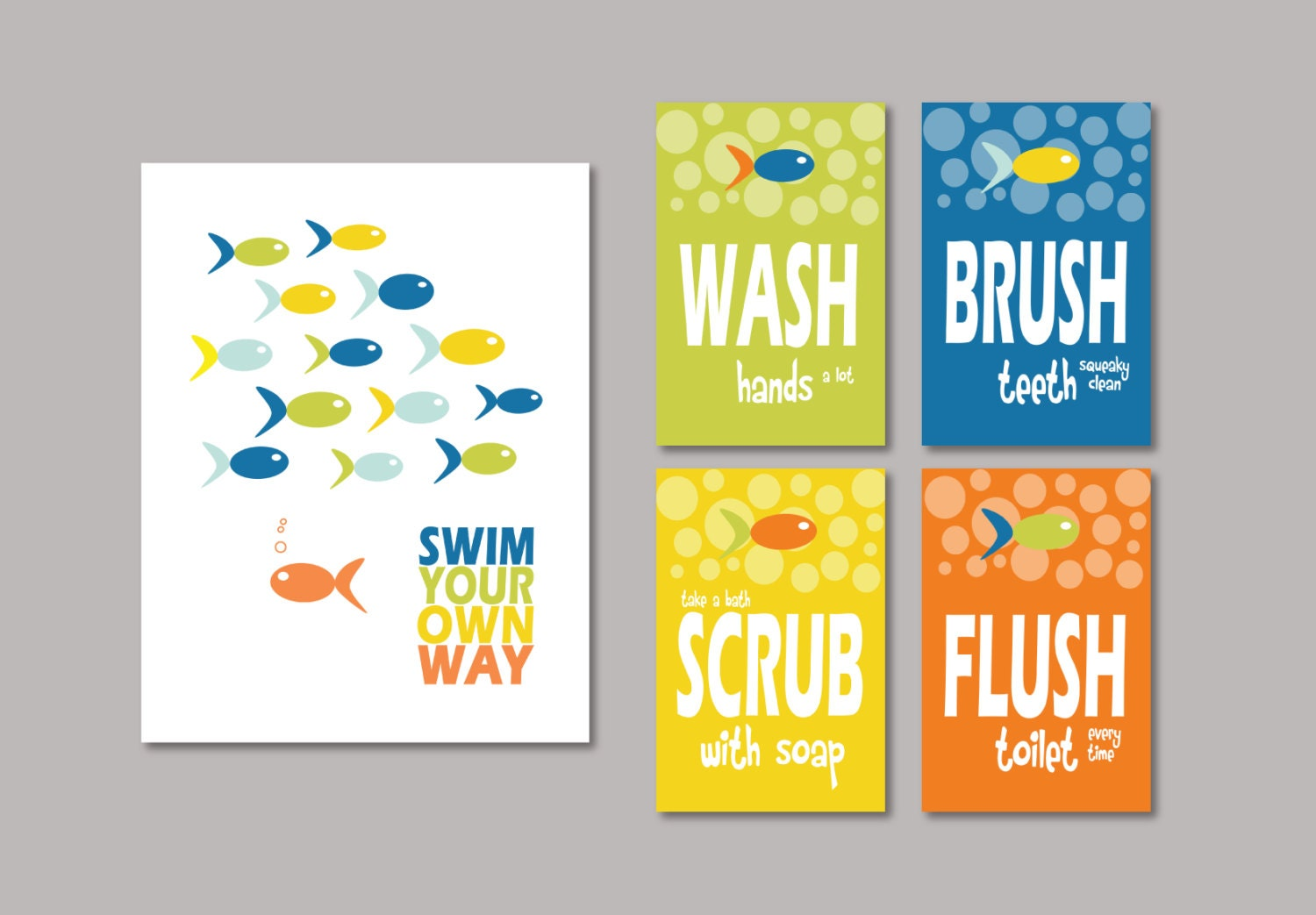 Kids Bathroom Art Prints Swim Your Own Way Splash Wash