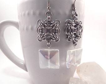 Celtic Square Chainmaille Earrings with Iridescent Glass Beads