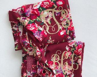 Bridesmaid Gift, Bridesmaid Robes Set, Bridal Party Gift, Cotton Floral Robe, Maid of Honor Robe, Bridal Party Robes, Bridesmaid Proposal
